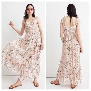 Madewell Ruffle-Strap Wrap Dress in Inkspot Dots